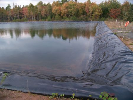 The fracking wastewater holding pond in Kennetcook.  Photo NOFRAC