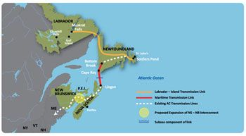 Under the Sea. Prospective Transmission Map from Muskrat Falls to New England. Photo: Govt. of Newfoundland
