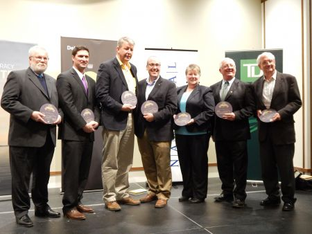 Winners of Wednesday nights awards included (Left to Right) Norm Collins for Advocate of the Year, Geoff MacLellan for Most Open MLA, John Lohr for Rookie of the Year, Chris d'Entremont for Legislator of the Year, Maureen MacDonald for Most Knowledgeable MLA, Sterling Belliveau for Most Collaborative MLA and Bill Black for Story Shaper of the Year. Missing, David Darrow for Public Servant of the Year. Photo Rebecca Zimmer