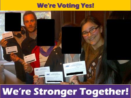 Current and former employees show their union cards in a photo that was posted in the cafe prior to the vote. At left, Andrew Gouthro; at right, Shelby Kennedy. (Photo courtesy of Jason Edwards)