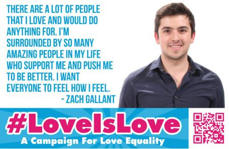 """The goal of the #LoveIsLove campaign is to unite all people, regardless of who they are or who they love, to support love equality"" says Zach Gallant, President of the Mount St. Vincent University Students' Union."