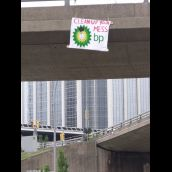 Anti BP Banner hanging from over pass on Barrington