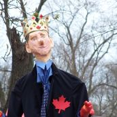 Prime Minister Stephen Harper makes an appearance...in effigy