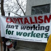 Banner by the Halifax-Dartmouth and District Labour Counsil