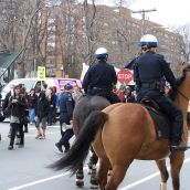 Mounted Hailfax police officers stare down masked protesters