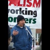 Simon Reece, Downstream Coordinator for the Keepers of the Athabasca was a guest at the rally.