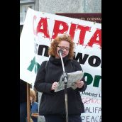 Fiona Traynor from Dal Legal Aid spoke about lack of affordable housing and poverty in Halifax.