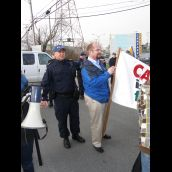 G8 morning picket - Union leader arrested