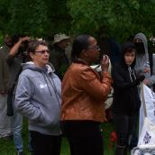 "Activist Denise Allen told the crowd, ""We need to lift the struggle of he Palestinian people higher,"" and compared the actions of Israel to actions taken by governments in Canada. <br>Photo by Kaley Kennedy"