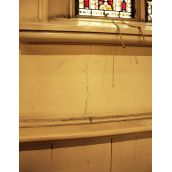 St. Mary's Cathedral Basilica: The maintenance person noticed this crack next to a pew on March 1. (Photo: HB)