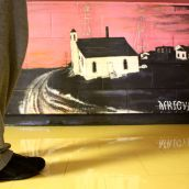 Hinch stands in front of a small floor-level mural of Africville's Seaview Baptist Church painted by St. Pat's students. The school's Africentric leanings mean students learn all about African-Canadian history.