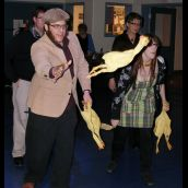 The Chicken Toss was among the night's most popular games