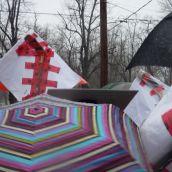 umbrellas and hockey sticks