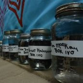 Jars of water from 60 locations across the province demonstrated what is at risk from shale gas extraction.