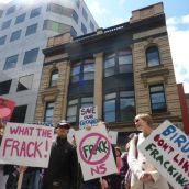 More than 100 people rallied to ban fracking at Nova Scotia Legislature today.