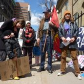 Speakers at the rally included (left to right) Angela Giles with the Council of Canadians, Mi'kmaq Elder Billy Lewis and Tatamagouche resident Meghan MacCulloch.