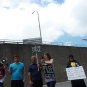 Palmira Boutlier, Kyle Buott, unidentified supporter, Melissa Albiani, Samira Taha (CAJJP).