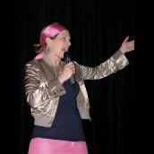 MC of the night Sue Leblanc-Crawford, Zuppa co-artistic director