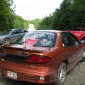 Cars block seismic trucks in Stanley, NB on August 9, 2011. Photo: Tracy Glynn.