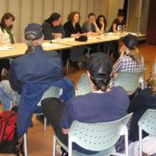 Panellists at the Halifax launch (from left to right): Kaley Kennedy (moderator), Angela Giles (Council of Canadians), Cole Webber, Fiona Traynor (Dalhousie Legal Aid Service), Mary Burney and April Wise-Gillap (Feminist League for Agitation Propaganda), and Hillary Lindsay (HMC/Dominion). <br> Photo by Allan Bezanson.