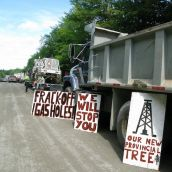 Messages for the shale gas industry line trucks that have been stopped in the blockade in Stanley. Photo: Tracy Glynn.