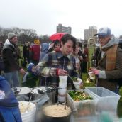 Free food, locally sourced, was served at the end of the march.  photo: Hillary Lindsay