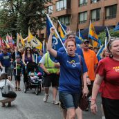 Close to 500 people attended Halifax Labour Day celebrations and marched through downtown. Photo Simon de Vet