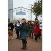 """Catherine Abreu of the Ecology Action Centre, """"We don't want a future where we frack the last remaining fossil fuel resources out of the ground and pollute communities.""""  Photo Robert Devet"""