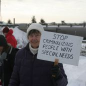 Protesters believe that people with special needs do not belong in the criminal justice system.  Photo Robert Devet