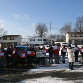 Supporters at the RCMP detachment.  Photo Robert Devet