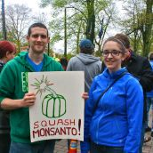 Jay Miller and Anne-Marie Mareault join with hundreds of others in Halifax to rally against Monsanto.