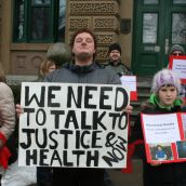 Protesters call on the province to change course and stop throwing people with intellectual disabilities in jail. Photo Robert Devet