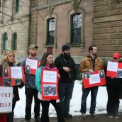 Rallies demanding an end to criminalization of persons labelled with intellectual disabilities occurred in Halifax (photo), Sydney, Truro, New Minas, Yarmouth, and Amherst.  Photo Simon de Vet