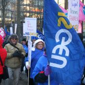 But home support workers never had a chance. Angry workers rallied outside Province House while inside the liberal majority put in place essential services legislation that effectively removed the right to strike.  Even light housekeeping and doing the laundry were deemed essential. Photo Robert Devet