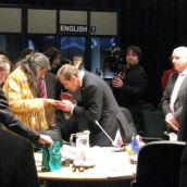Mi'kmaq elder Emmett Peter performs a smudging ceremony to welcome the foreign ministers - his speech did not touch on the challenges First Nations are facing in Nova Scotia, Canada, and the world