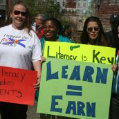 Adult learners rallied in the Town of Windsor, demanding that federal funding cuts for community learning programs be halted. Photo Robert Devet