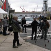 TV crews report at the end of the G8 meeting in Halifax