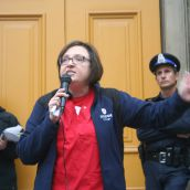 """They can't legislate away our solidarity"". Lana Payne, of Unifor, on the importance of remaining unified. Photo Robert Devet"