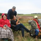 From Elsipogtog. Jacqueline Clair on the far right. Photo Robert Devet