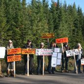 For most of the day residents of Brentwood, a community near Alton, blocked entry into the Alton Gas construction site. They are worried about their safety once the gigantic liquid natural gas storage facility is in production.They were never consulted, they say. Photo Robert Devet