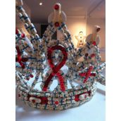 "Crown Jewels of Corporate Greed, part of the OUT exhibit, is made of expired AZT ""the principal medication used for treating AIDS at the time. Photo Rebecca Rose"