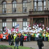 A crowd of about 250 rallied at City Hall in support of the Halifax Water workers who are in legal strike or lockout position. Photo Robert Devet