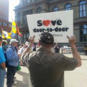 About 100 postal workers and sympathizers rallied at the Grand Parade to demand that Halifax adds its voice to the opposition to the cuts to door to door delivery.  Photo Stephanie Taylor