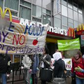 Protesters said 'No' to the corportization of food and agriculture.  photo: Hillary Lindsay