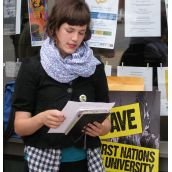 Elise Graham, Chairperson of the Canadian Federation of Students (CFS) - Nova Scotia reads a letter to be presented at Megan Leslie's community office in Halifax, and forwarded to Minister of Indian and Northern Affairs Chuck Strahl as well as to Stephen Harper