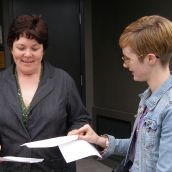 CFS Maritimes Organiser Rebecca Rose (right) hands the letter over to a staff member of Megan Leslie's community office. While it was known that Megan Leslie would be  in Ottawa at the time, the action was organised on June 21 to mark National Aboriginal Day