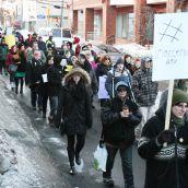 Gottingen Street filled with marchers.