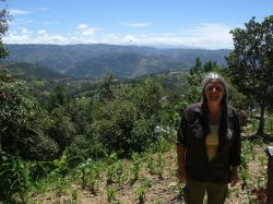 Author Cathy Gerrior in the Guatemalan highlands. (Grahame Russell photo)