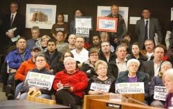Opponents of the Energy East pipeline proposal packed North Bay council chambers in this file photo. Council has approved a motion to allow Mayor Al McDonald to seek intervenor status at National Energy Board hearings into the proposed pipeline. (Nugget.ca April 6, 2014)