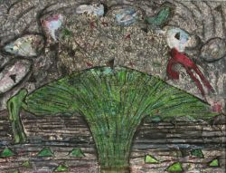 """Fearful Man Airborne and Green Man Grounded near Greening Exploding Tree"" Watercolour, charcoal, pastels, pencil on paper by Joanne Light 2011 20x 24 (free frame) $600"